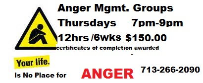 Anger Mgmt Counseling Groups Meet Weekly Thursdays @ 7PM